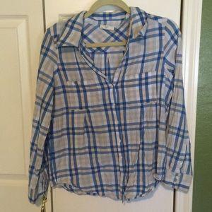 Joie cotton plaid blouse